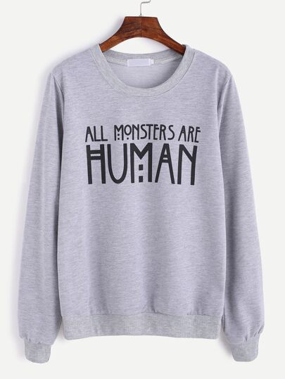 Grey Slogan Print Sweatshirt