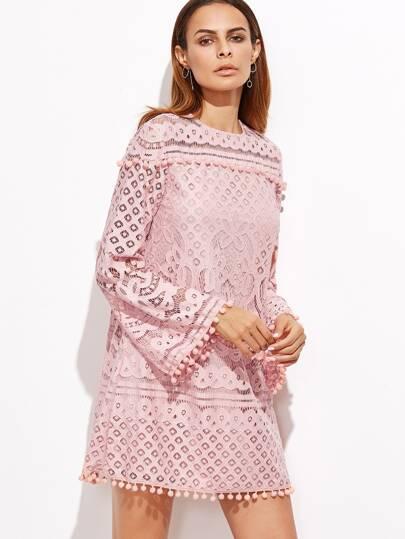 Vestido crochet pompones manga larga - rosa