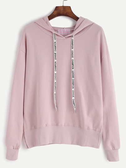 Pink Drop Shoulder Slit Side Hooded Sweatshirt