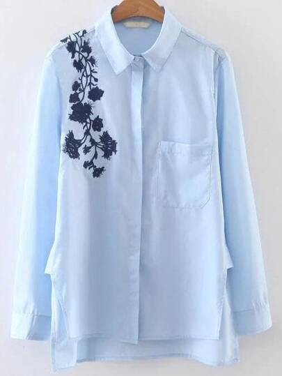 Blue Floral Embroidery Dip Hem Blouse With Pocket