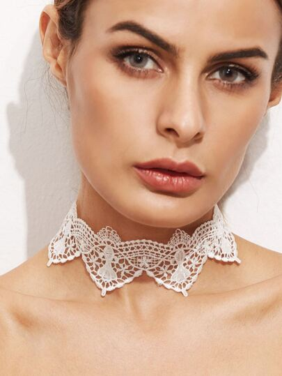 White Vintage Lace Hollow Out Choker Necklace