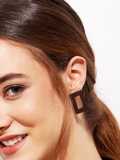 Brown Hollow Rectangle Wooden Stud Earrings