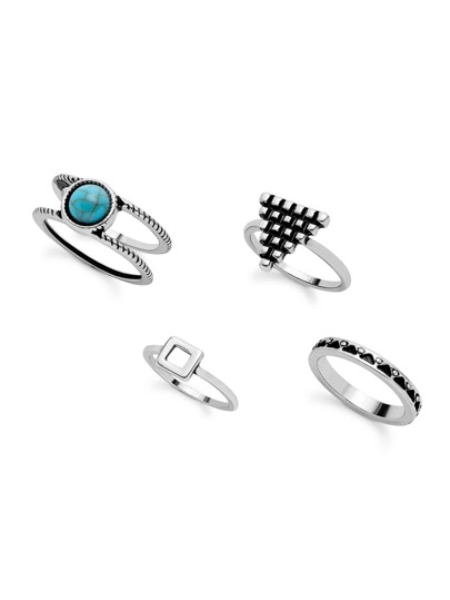 Antique Silver Turquoise Geometric Hollow Out Ring Set