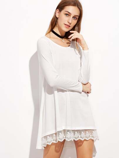 White Contrast Lace Trim T-shirt Dress