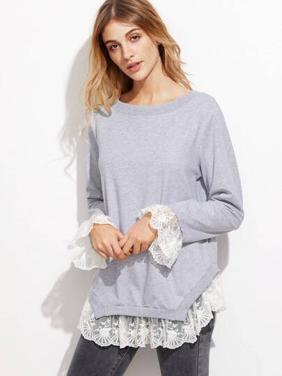 Heather Grey Lace Trim Bow Back Sweatshirt