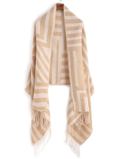 Бежевый полосатый шарф-накидка с бахромой