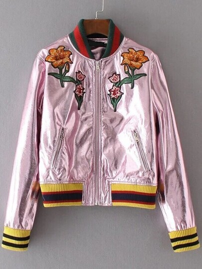 Pink Flower Embroidery Zipper Up PU Jacket