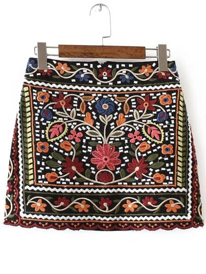 Multicolor Tribal Embroidery Skirt