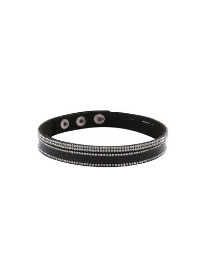 Black Layered Rhinestone Buckled Bracelet