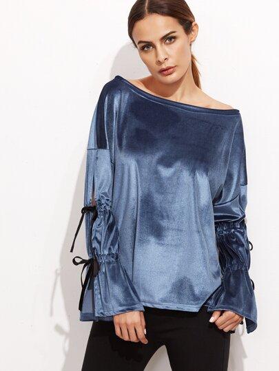 Blue Boat Neck Split Sleeve Bow Tie Velvet T-shirt