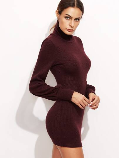 Burgundy Turtleneck Bishop Sleeve Ribbed Bodycon Dress