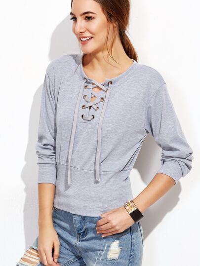 Grey Eyelet Lace Up Sweatshirt