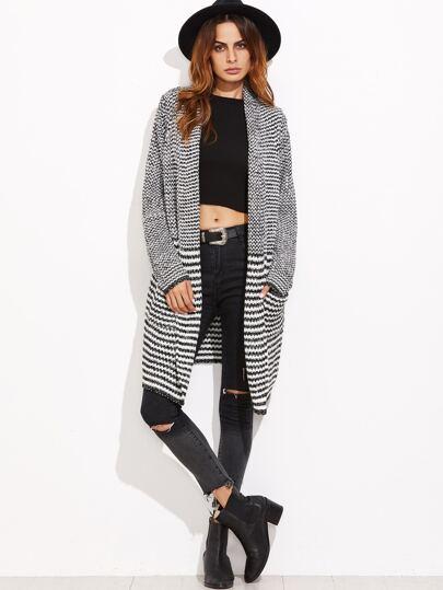 Black And White Striped Shawl Collar Sweater Coat