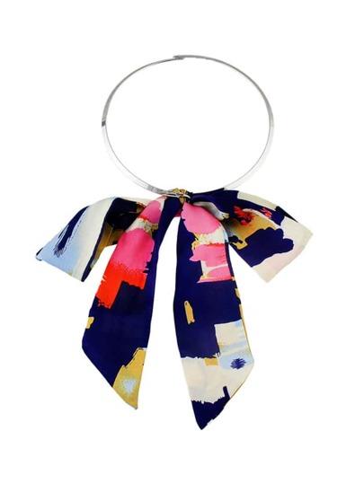 Latest Design Ribbon Bowtie Pendant Choker Collar Necklace