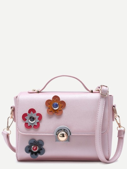 Floral Patch Pink PU Crossbody Bag