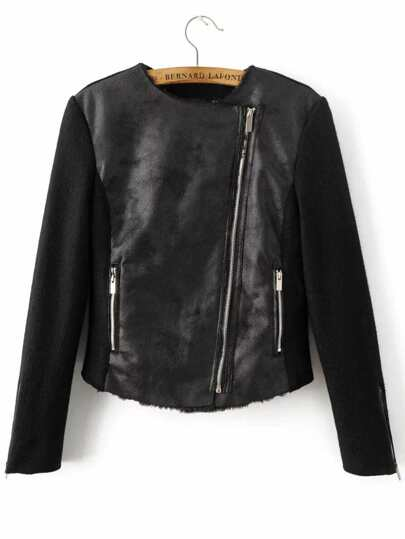 Black Oblique Zipper PU Jacket