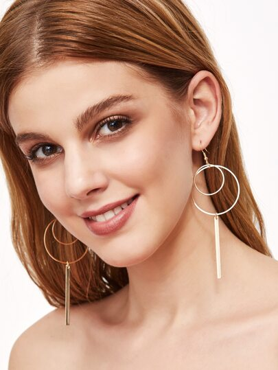 Gold Plated Hollow Circle Bar Drop Earrings