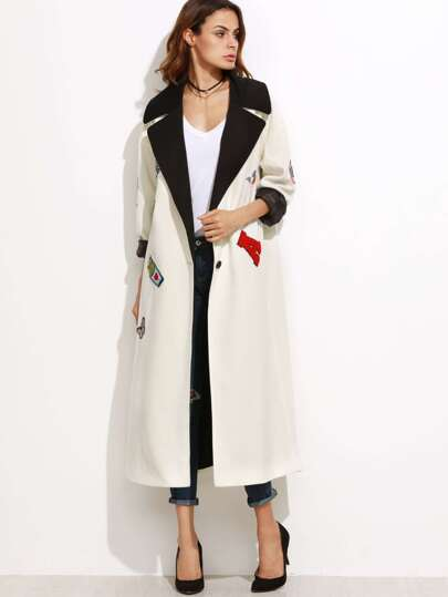 White Contrast Collar Coat With Patch Detail