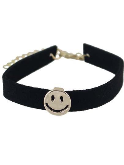 Wide Black Velvet Wrap Bracelet With Smile Face