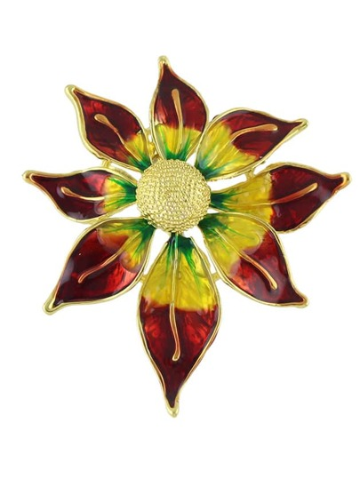New Colorful Enamel Big Sun Flower Brooch