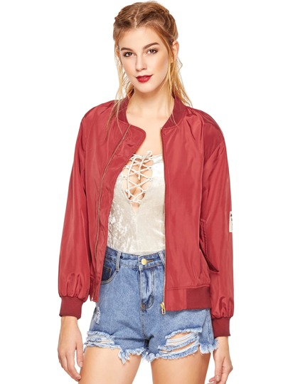 Burgundy Stand Collar Pockets Bomber Jacket