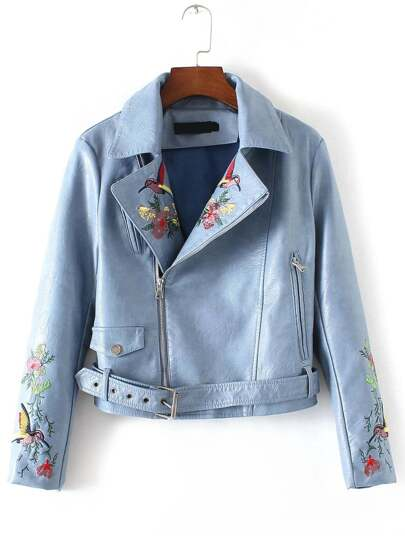 Blue Bird Embroidery Zipper PU Jacket With Belt
