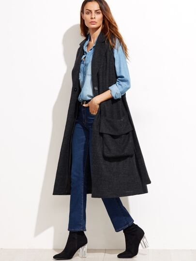 Abrigo de lana sin mangas con cinturón - negro