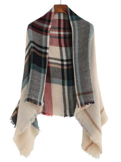 Бежевый клетчатый шарф шалью