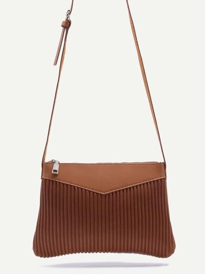 Brown Ribbed PU Zip Closure Crossbody Bag