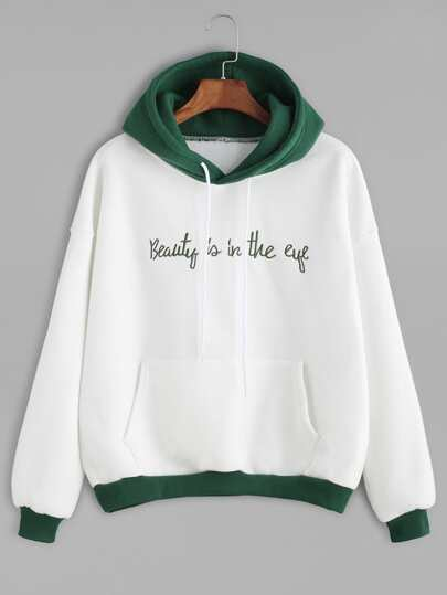 Color Block Slogan Embroidered Hooded Sweatshirt