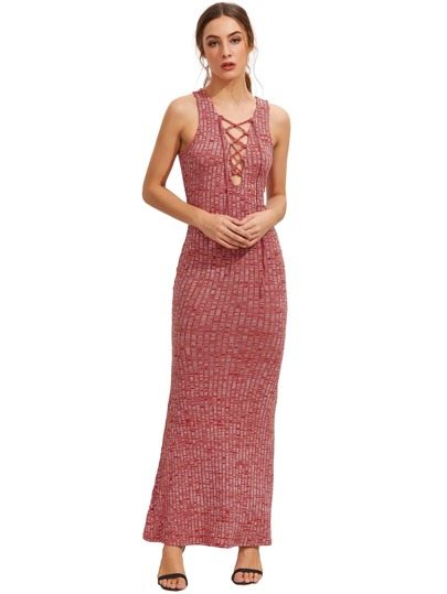 Dark Red Sleeveless Lace Up Maxi Dress