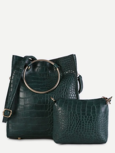 Green Crocodile Embossed PU Metal Ring Shoulder Bag Set