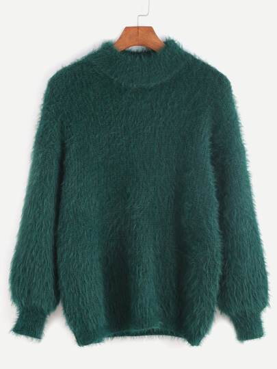 Dark Green Drop Shoulder Mohair Sweater