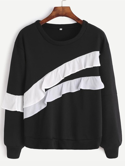 Black Ruffle Trim Sweatshirt