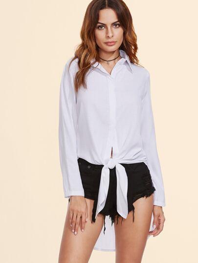 White Slit Side Curved Hem High Low Shirt