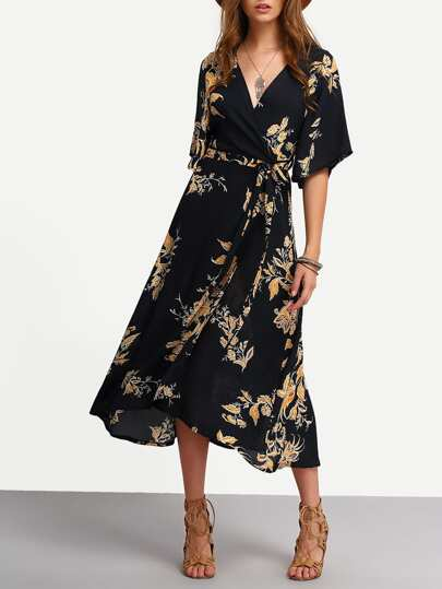 V Neckline Florals Wrap Dress