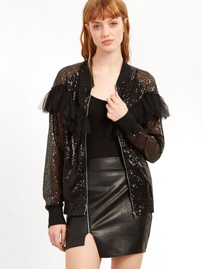 Black Ruffle Trim Sheer Embroidered Sequin Bomber Jacket