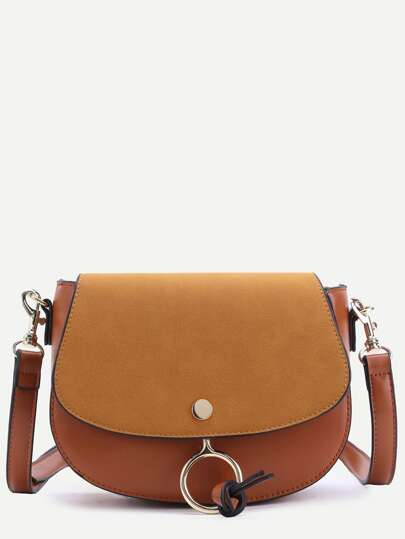 Brown Faux Leather Metal Ring Flap Saddle Bag