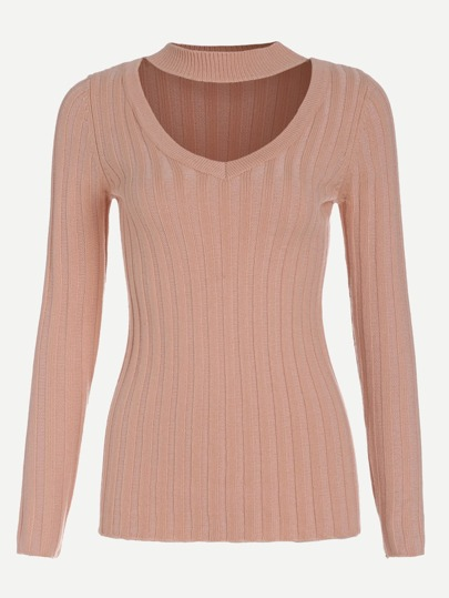 Pink Cutout Choker Slim Fit Ribbed Sweater