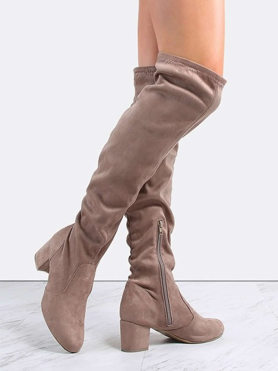 Faux Suede Knee High Boots TAUPE