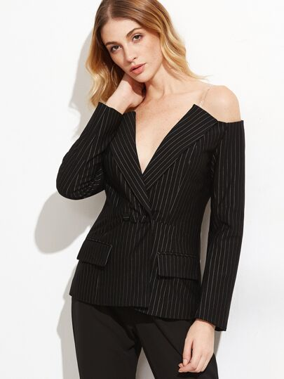 Pinstriped Off The Shoulder Blazer