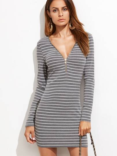 Grey Striped Zip Neckline Ribbed Bodycon Dress