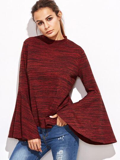 T-shirt tricoté marné manche cloche - rouge