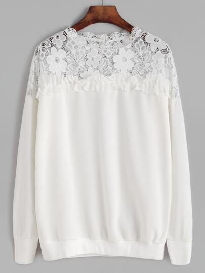 White Lace Crochet Insert Ruffle Trim Sweatshirt