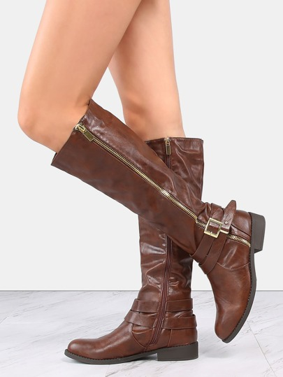 Exposed Zipper Riding Boots COGNAC