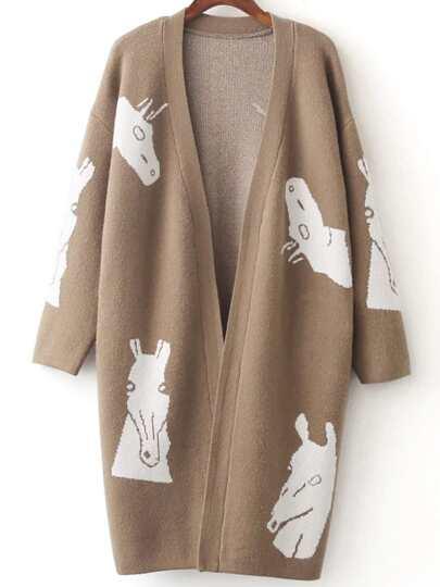 Khaki Horse Pattern Open Front Cardigan