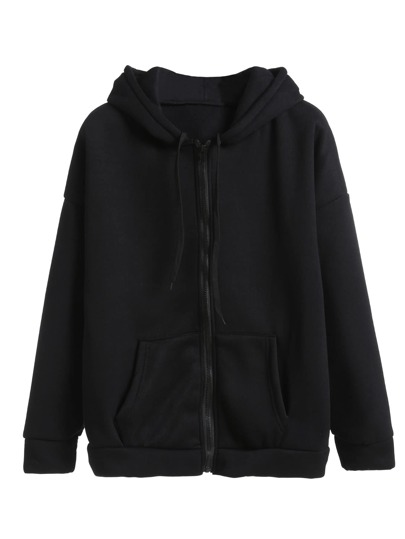 Drawstring Hooded Zip Up Sweatshirt