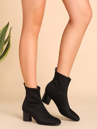 Black Nylon Almond Toe Chunky Heel Short Boots
