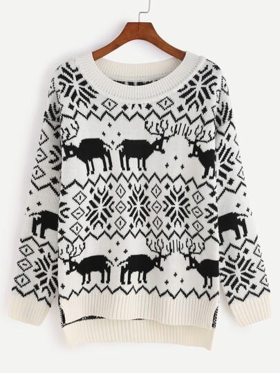 Jersey asimétrico con estampado navideño - negro y blanco
