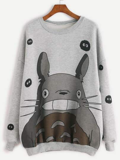 Grey Cartoon Print Drop Shoulder Seam Sweatshirt